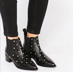 ASOS Studded Black Leather Ankle Booties